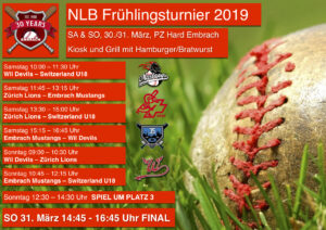 NLB – Frühlingsturnier 2019 @ Baseballfeld Hard, Embrach